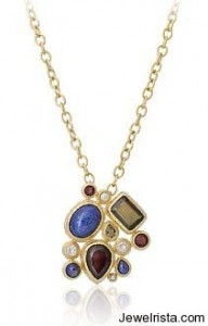 jewel cluster stone necklace isharya jewelry