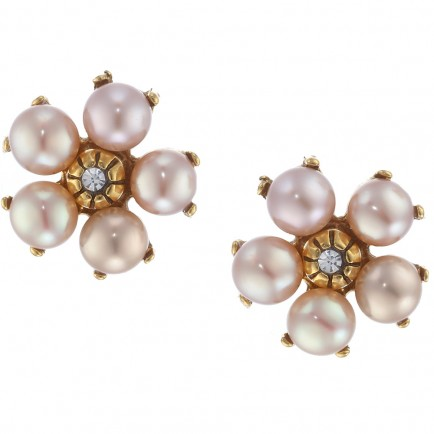 Flower Earrings 1 - Pearls and Gold