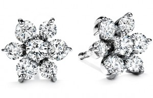 Flower Earrings 2 - Diamonds