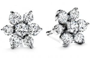 Flower Earrings 2 - Diamonds