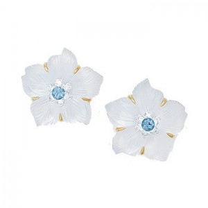 Flower Earrings 3 - Sapphire and Diamond