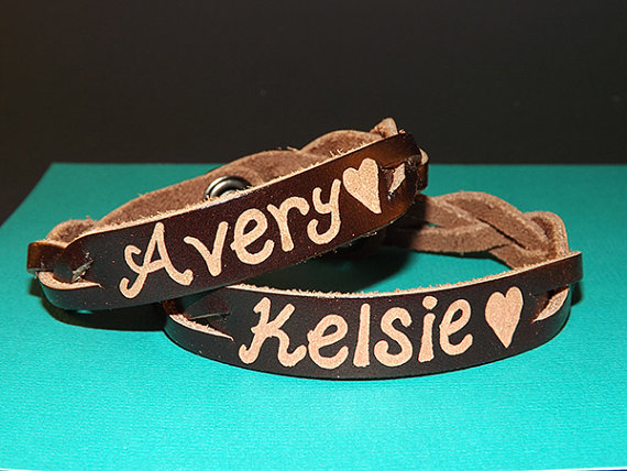 Matching Bracelets - Leather Engraving for a Couple